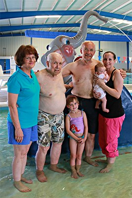 Four Generations At The YMCA. 1 family, four generations, all enjoy the y.