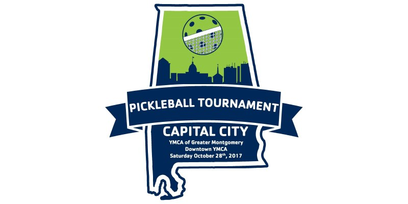 pickle ball. pickleball. picklleball tournament. montgomery al. ymca of greater montgomery. Image of the logo for the 2017 pickleball tournament at the ymca of greater montgomery.