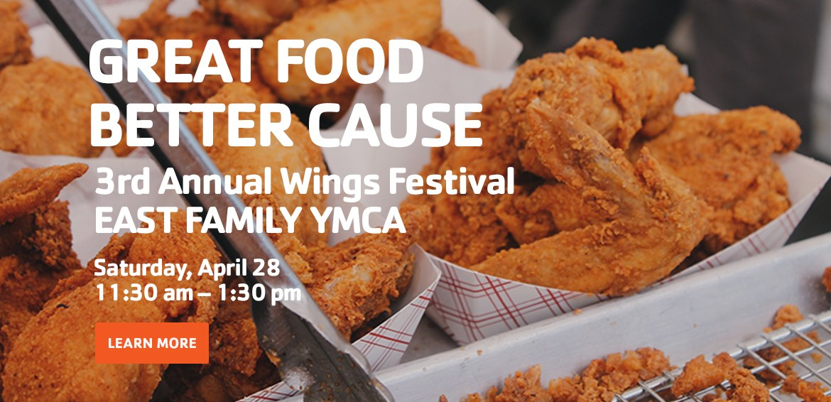 Wings Festival. East Family YMCA. YMCA Montgomery. YMCA of Greater Montgomery. Image of buffalo wings promoting the 3rd annual wings festival at the East Family YMCA